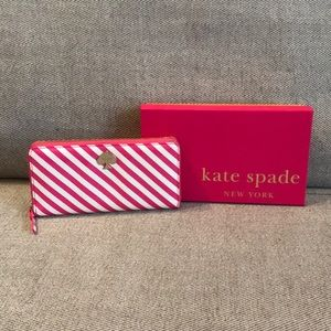 Authentic Kate Spade Pink & White Striped Wallet